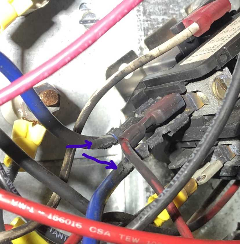Electrical wires damaged by heat
