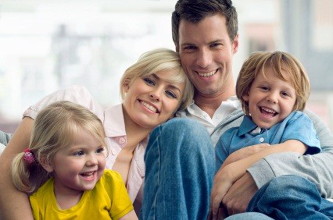 smiling family enjoying brown's heating and air conditioning