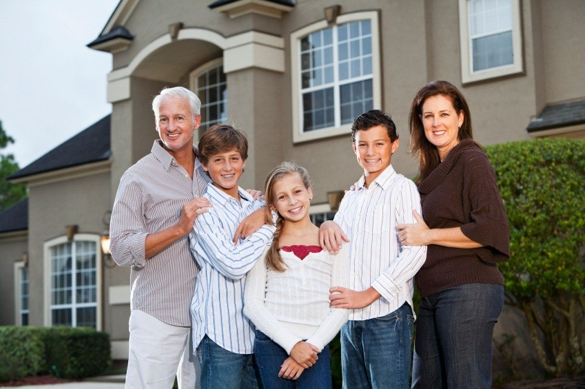 smiling Outdoors family happy with Browns' Heating and Air Conditioning